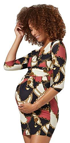 Happy Mama. Donna. Abito Elasticizzato prémaman Elegante Vestito con Tasca. 236p