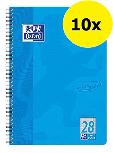 OXFORD 400086497 Collegeblock Touch 10er Pack im Format A4 80 Blatt kariert mit Doppelrand meerblau Schreibblock Notizblock Briefblock Schulblock
