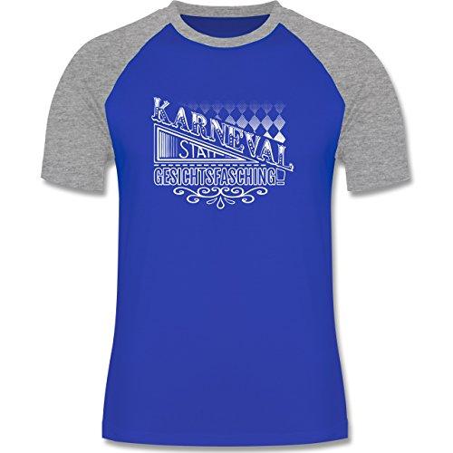 Karneval & Fasching - Karneval statt Gesichtsfasching - zweifarbiges Baseballshirt für Männer Royalblau/Grau meliert