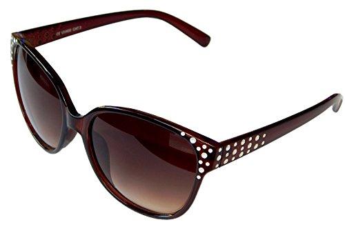 Stylische Damenbrille Sonnenbrille Pornobrille mit Strass-Steinen Brille Style Damen M 37 (Braun)