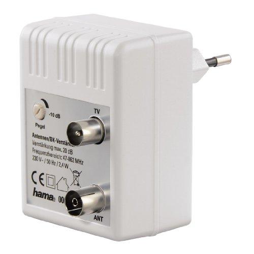 Hama Antennen-Verstärker für Kabel TV/ DVB-T/ Radio (Regulierbar, Koax-Buchse/Koax-Stecker, Signalverstärkung bis zu 20 dB) weiß -