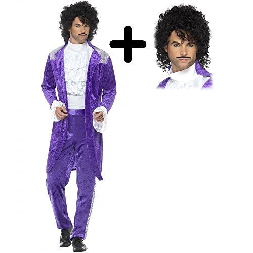80s Purple + Wig Musician Mens Fancy Dress Icon Celebrity Prince Adults Costume L (42-44