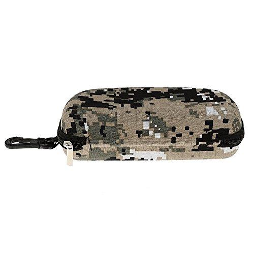 Huihuger Praktische stoßfest Sonnenbrille Etui Zipper Tasche mit Haken, Camouflage