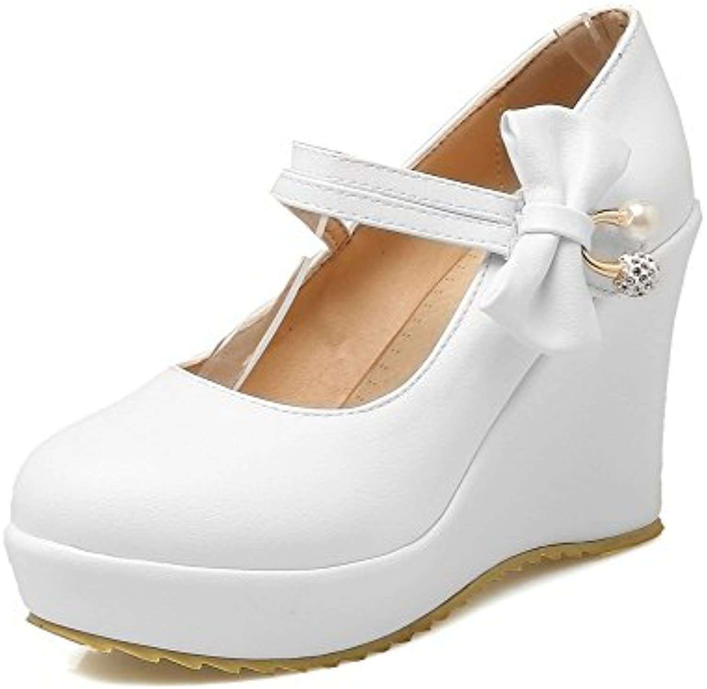 6cc46eae833 AgooLar Women s Pu High-Heels Closed-Toe Soild Buckle Buckle Buckle Court  Shoes B07CWL9HYZ