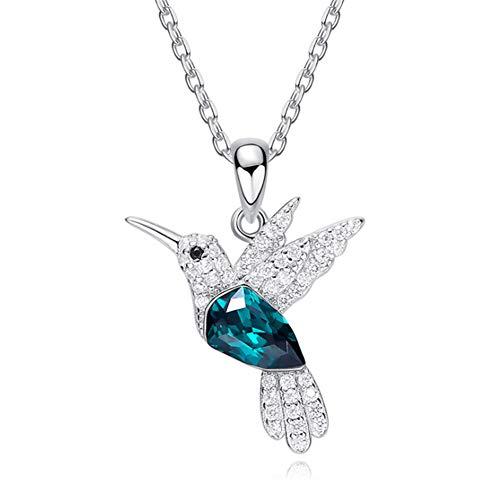 XINGYU Vogel Anhänger Halskette für Frauen Mädchen Schmuck Mode Vergoldung 925 Sterling Silber 5A Zirkonia Geschenke zum Geburtstag Jubiläum Mutter Tochter, Blue