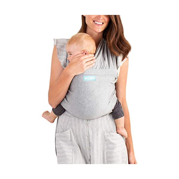 MOBY Fit Baby Wrap Carrier for Newborn to Toddler up to 30lbs, Baby Sling from Birth, One Size Fits All, Breathable Stretchy Made from 100% Cotton, Unisex Moby Perfect for newborns - hug them close to your heart Front and outward carrying positions Grows with baby, from new-born to toddler 3