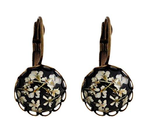 Miss Lovie Damen Ohrhänger Echte Getrocknete Blüten Ohrringe Cabochon 12mm Modeschmuck Schmuck Schwarz Weiß Bronze (Schmuck Schwarz Weiß)