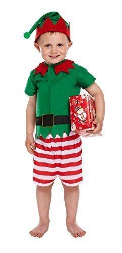 Weihnachtsmann Großbritannien Kinder Kostüm - Sankt kleiner Helfer Elf Kostüm Alter 3 Jahre