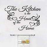 xlei Wandaufkleber Die Küche Ist Das Herz des Hauses Vinyl Art Home Decor Kaffeetassen Wandfliese Aufkleber Abnehmbare Vinyl Art Wall Decals85X58Cm