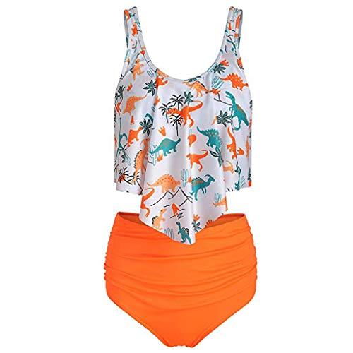 Floweworld Sommer Damen Bikini Set Neue Frauen Zweiteiler Badeanzug Hohe Taille Dinosaurier Print Badeanzug Strand Rüschen ()
