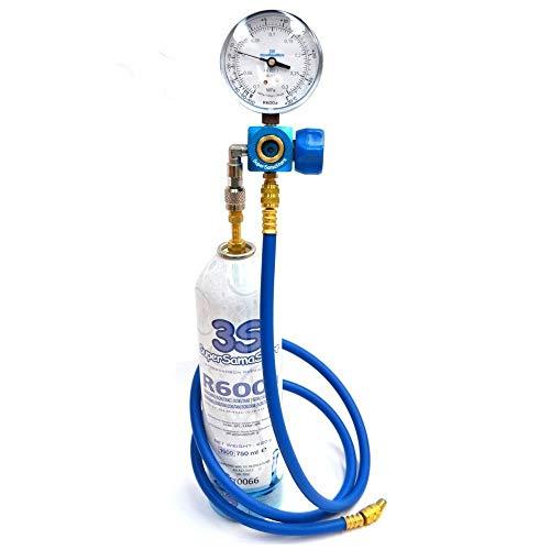 Kältemittel GAS R600a 420 gr DIY KIT REFILL mit Manometer Kühlschränken neue -