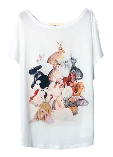 men-T-Shirt, Fledermausärmel, Motiv Rundhalsausschnitt, Baumwolle, Mischgröße 36 38 40 42 44 46 Gr. L, Un Groupe de Lapins ()