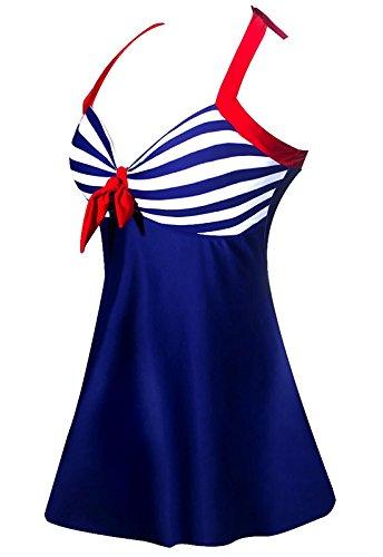 ALICECOCO Damen Retro Polka Schwimmen Kostüm Kleid Plus Size One Piece Bademode mit Boyshort Bottom(FBA) (EU 42--44 ( 2XL ), Blaue Streifen) (Boyshorts Blau)