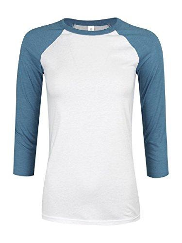 Bella & Canvas Baseball Damen T-Shirt mit 3/4 ärmeln weiß (Baseball-t-shirt Bella)