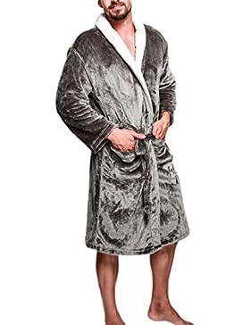 Albornoz de franela Pijama de hombre/Abrigo de noche cálido y acogedor Ropa de casa/Rebeca de rebeca