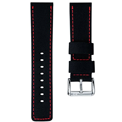 ZULUDIVER Uhrenarmband Nylon Wasserdicht Schwarz, Rot, 24mm