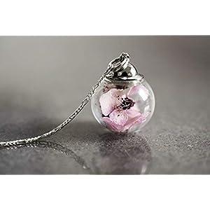 925 Sterling Silber Kette Echte Japanische Kirschblüte Sakura Blüte Exklusive Geschenkverpackung Schmuckschachtel