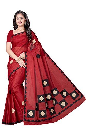 Rani Saahiba Applique Work Pure Cotton Saree ( SKR3808_Red )