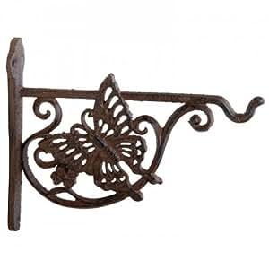 suspension pour fleurs crochet mural en fonte support de pot de fleurs papillons d 39 environ 17. Black Bedroom Furniture Sets. Home Design Ideas