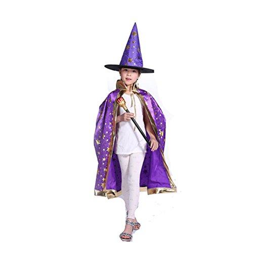 n Spiel Kostüme Hexe Umhang mit Hut Halloween Kleider Set (Lila) (Halloween-hexe-hüte)