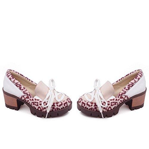 AllhqFashion Damen Mittler Absatz Ziehen Auf Weiches Material Rund Zehe Pumps Schuhe Cremefarben