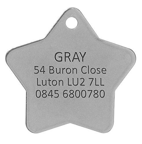Personnalisé Médaille pour Chien en Acier Inoxydable en Forme d'Etoile (Grand)   Service DE Gravure   Médaille pour Animal Domestique Personnalisée avec Gravure Laser