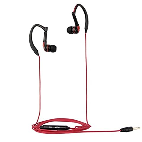 Sport Earphones, HAWEEL Noise Isolating In-ear Sport Earphone with Mic & Line ,Weave Ear-hook Earbuds for iPhone 6 & 6s, Samsung Galaxy S6 / S5 / S4, HTC(Red)