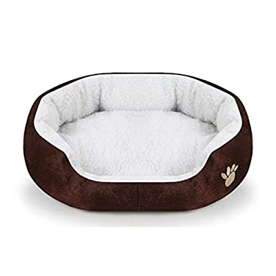 hhagg Paw Pet Sofa Dog Beds Soft Material Nest Dog Baskets 6 Colors Soft Fleece Warm Cat Bed Fall and Winter Warm Kennel For Cat Puppy 40x45 Brown by hhagg