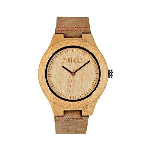 ZARTHOLZ Herren Holz-Uhr Holz-Armbanduhr Empor Rot 45mm Analog Quarz Lederarmband Braun Bambus ZH001