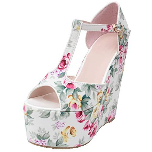 DoraTasia Damen Floral Open Toe Plattform High Heel T-Riemen Sandalen-Thick Bottom Printed Pumps-Hochzeit Party Dress Shoes Studded Platform Pump