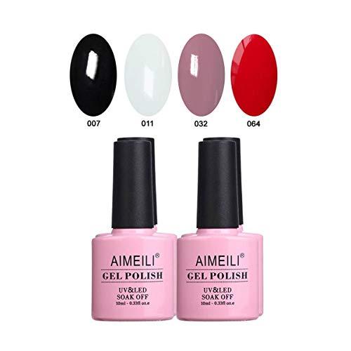 AIMEILI UV LED Gellack mehrfarbig ablösbarer Gel Nagellack Schwarz Weiß Nude Rot Gel Polish Set Kit - 4 x 10ml (SET4-19)