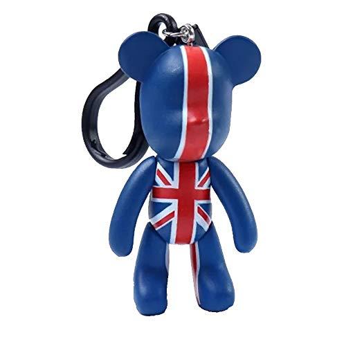 Schlüsselanhänger mit Union-Jack-Flagge, 7,6 cm, Sammlerstück, Souvenir, Popobe Medicom, britischer Teddybär Kawaii Schlüsselanhänger in Großbritannien/Großbritannien, Blau/Rot/Weiß (Teddybären Sammlerstücke)