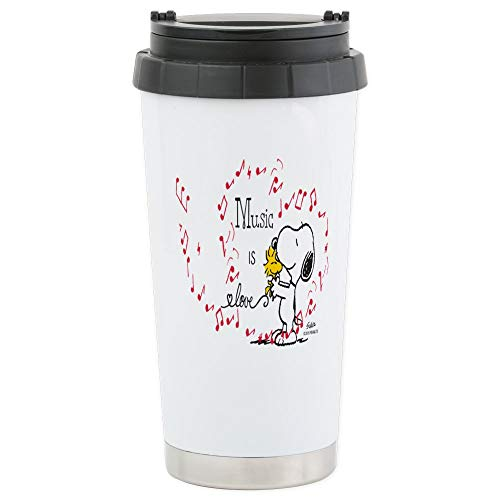 CafePress-Snoopy-Musik ist Liebe-Thermobecher Edelstahl, isoliert 16Oz Coffee Tumbler
