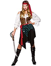 Caribbean Pirate Ladies Fancy Dress Costume Small 38-40