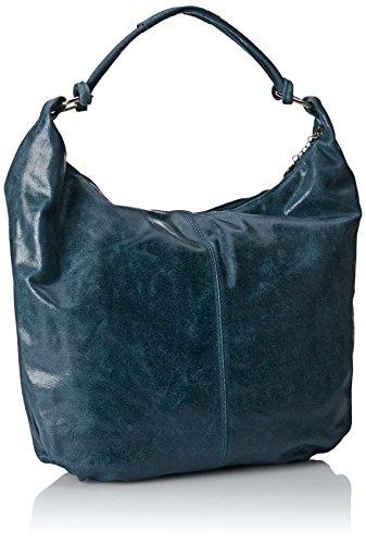 CTM Borsa da Donna da Spalla, Sacca in pelle, 45x35x4cm, Vera pelle 100% Made in Italy Petrolio