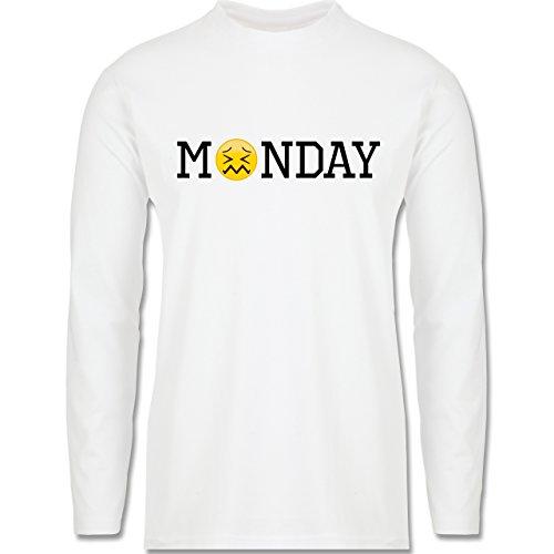 Statement Shirts - Monday Emoji - Longsleeve / langärmeliges T-Shirt für Herren Weiß