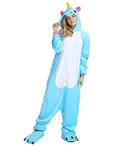 LATH.PIN Tier Pyjama Einhorn Kostüm Karton Tierkostüme Halloween Kostüme Jumpsuit Erwachsene Schlafanzug Unisex Cosplay- Gr, S(Höhe142-155CM), Blau Pferd