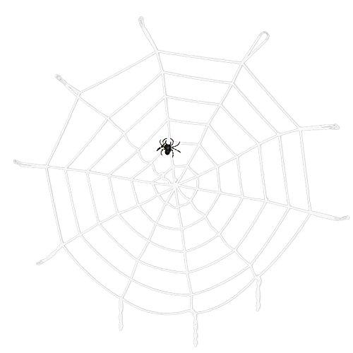 SpringPear 150 cm Weiß Spinnennetz + Plüsch Spinne -