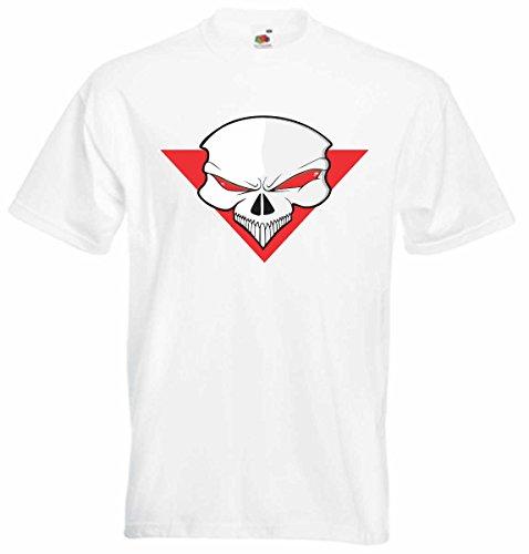 T-Shirt D802 T-Shirt Herren schwarz mit farbigem Brustaufdruck - Design Tribal Comic / abstrakte Grafik / Schädel Totenkopf auf Dreieck Mehrfarbig