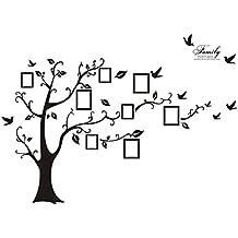 WINOMO Adhesivos de pared pegatinas de arte Marco de fotos familiares Árbol y aves patrón para decoración del hogar
