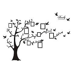 Idea Regalo - VORCOOL Adesivo cornici albero da parete con uccello per le foti di 180x250 cm