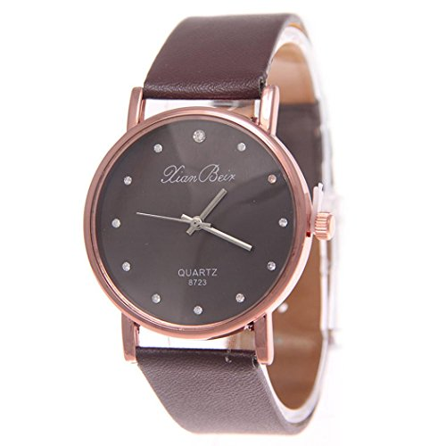 AMUSTER Neue Mode Leder Armband Armbanduhr Quarzuhr für Frauen Mädchen Damen Sport Edelstahl Zifferblatt Leder Band Armbanduhr (One size, B) -