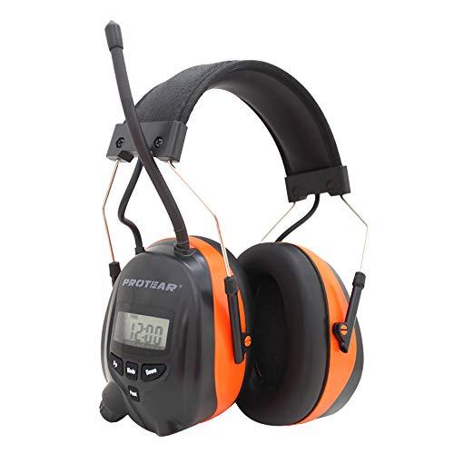 Bluetooth & Radio Gehörschutz, kompatibel mit Mobiltelefon / MP3, Protear-Gehörschutz für Werkstatt, Garten/Mähen, CE-Zertifiziert SNR 30dB,Orange