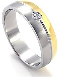 KONOV Schmuck Herren-Ring, Damen-Ring, Edelstahl Zirkonia Diamant, Zweifarbig, Gold Silber