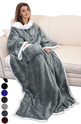 eece Kuscheldecke mit Ärmeln und Tasche, tragbar Micro Plüsch Warm Ärmeln TV Decke/Überwurf Bademantel für Erwachsene Damen und Herren Große 182,9x 139,7cm grau ()