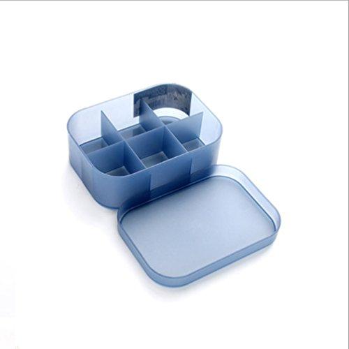 HUPLUE Kosmetik-Box mit Deckel Kunststoff, Toilettenartikel für Home Schlafzimmer-Kommode mit, blau, small with 6 compartments (Mädchen Schublade Sechs Kommode)