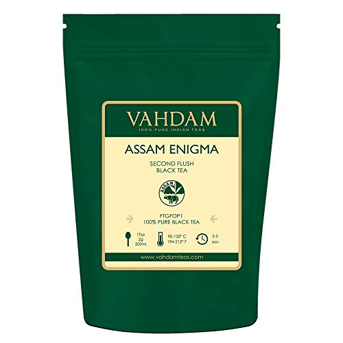 VAHDAM, Assam Enigma Second Flush Black Tea, (50 Cups) 100g | Rich & MALTY Assam Tea | 100% Pure Assam Loose Leaf Black Tea | Black Tea Leaves with Golden Tips | Brew as Hot, Iced Tea or Chai Latte
