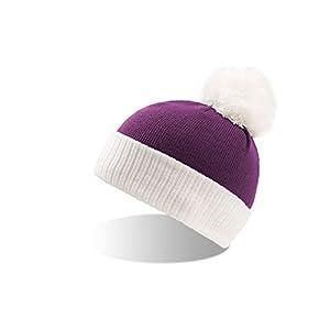 KID-CO-2 Kindermütze Pudelmütze Wintermütze für Kinder Strickmütze Bommelmütze Wollmütze grau navy weiß lila