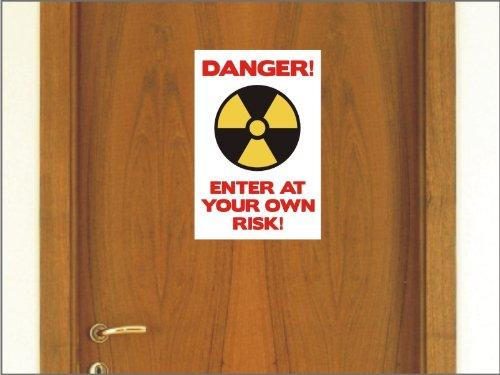 N1237 Lustige Teenager Schlafzimmertür Vinylaufkleber Schild Danger geben auf eigene Gefahr -