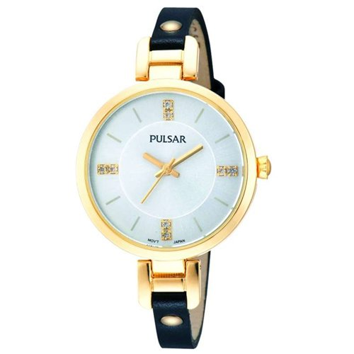 PULSAR PH8036X1 LADIES BLACK CALFSKIN 32MM MINERAL GLASS CRYSTALS QUARTZ WATCH